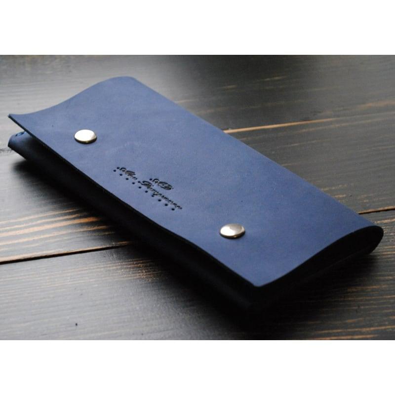 Кошелек мужской кожаный Purse Navy blue leather