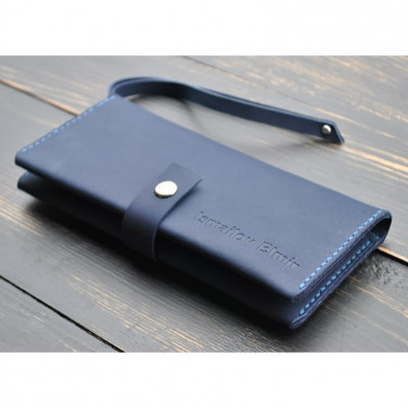 Кошелек мужской Clutch Exclusive blue leather