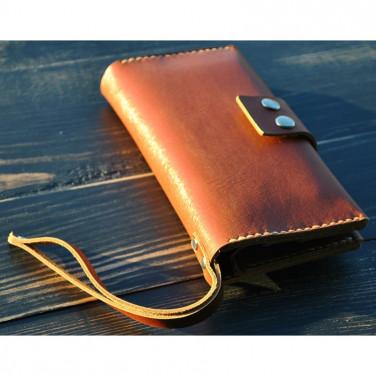 Кошелек мужской Clutch Brandy brown leather