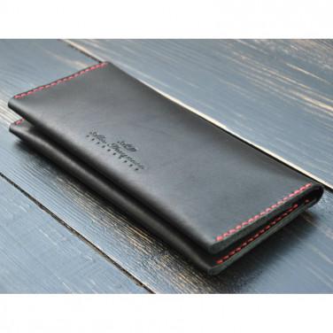 Кошелек мужской кожаный Purse Contrast black leather