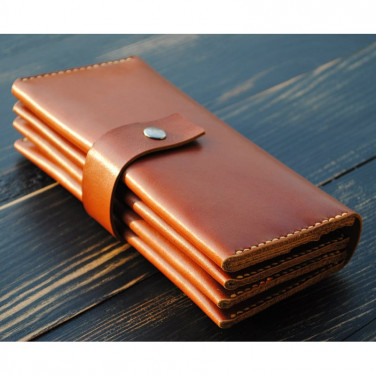 Мужской кошелек Clutch Tangerine brown leather