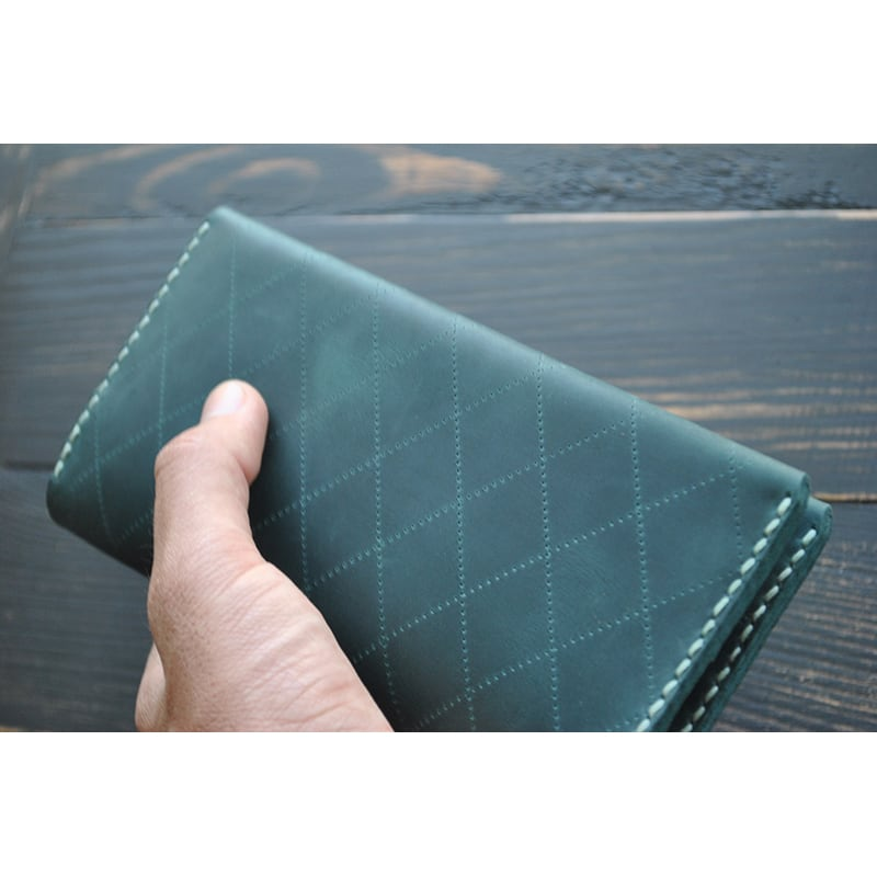 шкіряне Портмоне чоловіче Purse Emerald green leather