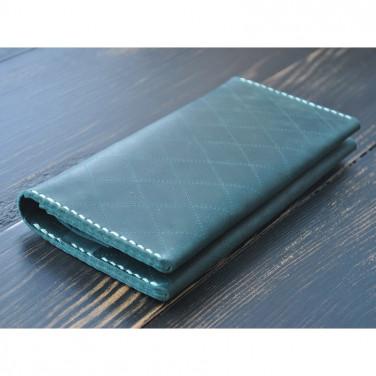 Портмоне кожаное мужское Purse Emerald green leather