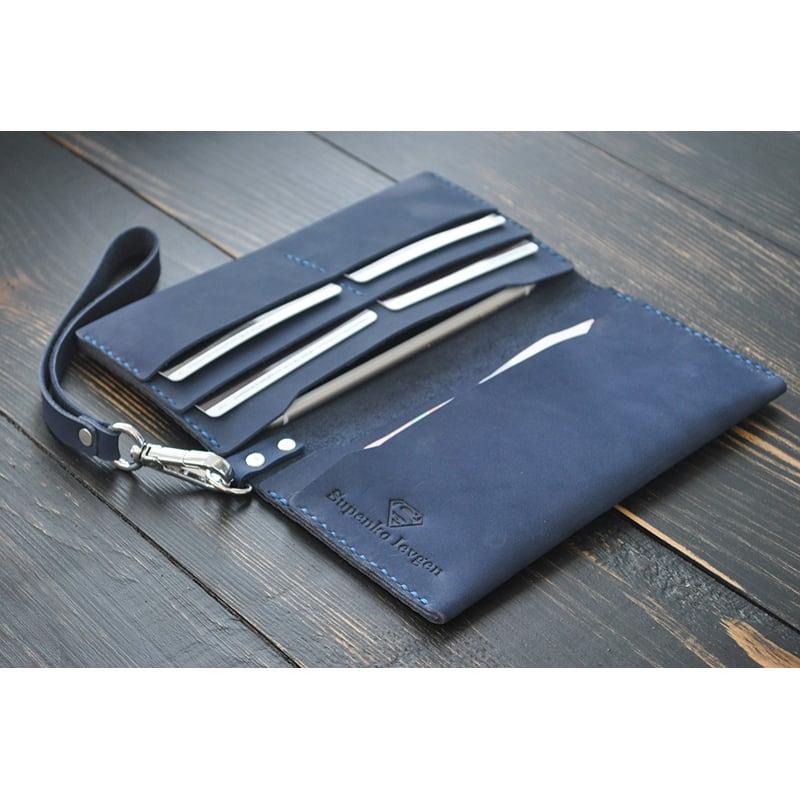 Кошелек кожаный Clutch Corundum blue leather