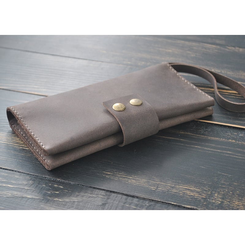 Кошелек кожаный мужской Clutch Terracotta brown leather
