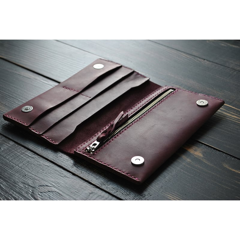 Портмоне чоловіче шкіряне Purse Burgundy vinous leather
