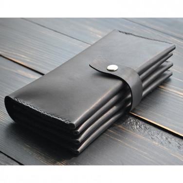 Кошелек кожаный мужской Clutch Large black leather