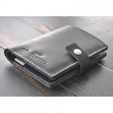 Чоловічий гаманець шкіряний Purse Рractical black leather