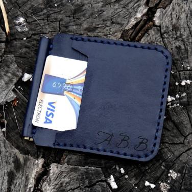 Затиск для грошей Money Сlip Navy blue leather