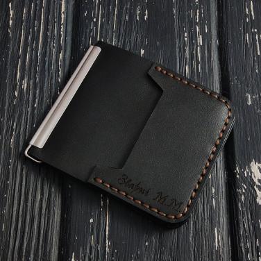 Зажим для денег Money Сlip Classic black leather