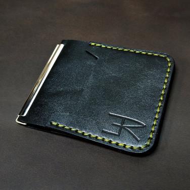 Затиск для грошей Money Сlip Luxury black leather