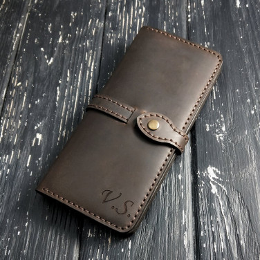 Кожаное портмоне Long Wallet Аll-Round brown leather