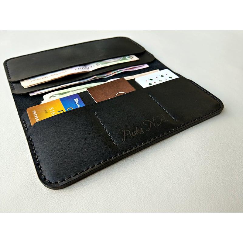 Кожаный мужской кошелек Wallet Classic black leather