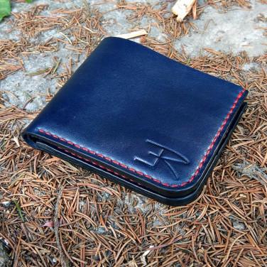 Кожаный кошелек Purse Navy blue leather