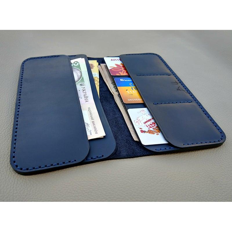 Кожаное портмоне Vintage Wallet Blue leather