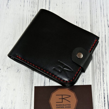 Мужской кожаный кошелек Purse Dynamic black leather