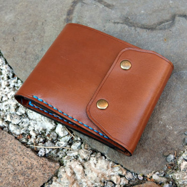 Мужской кожаный кошелек Purse Тwin brown leather