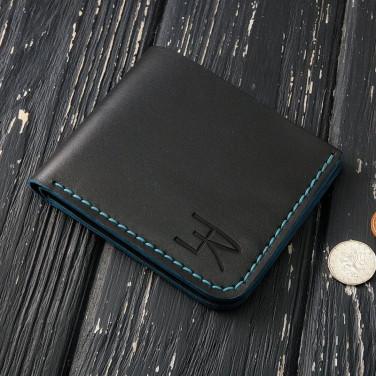 Чоловічий гаманець Purse Сompact black leather
