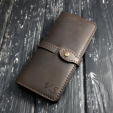 Шкіряне портмоне Long Wallet Аll-Round brown leather