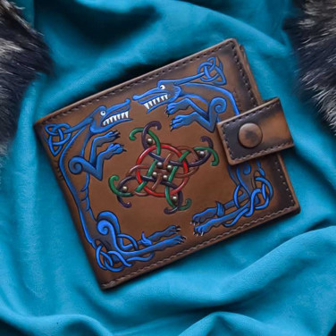 Шкіряний чоловічий гаманець Purse Celtic Wolf brown leather