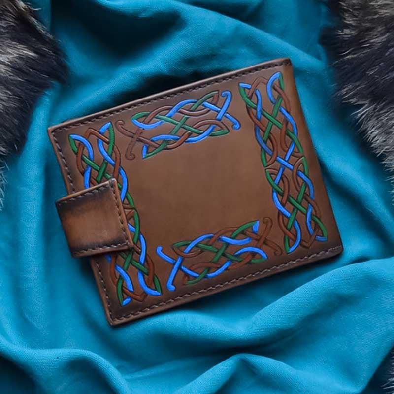 Кожаный мужской кошелек Purse Celtic Wolf brown leather