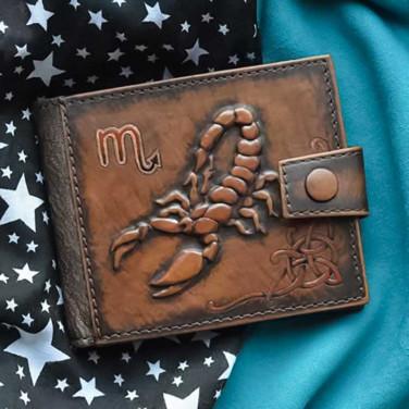 Чоловіче шкіряне портмоне Purse Scorpio brown leather