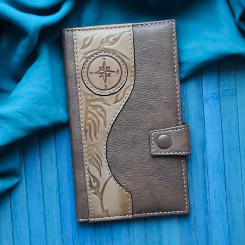 Мужской кошелек Purse Wind Rose brown leather