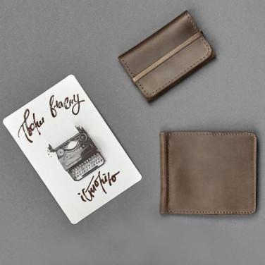 Гаманець чоловічий у наборі 2 в 1 Purse Brown Leather