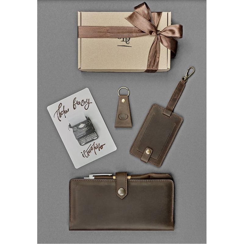 Гаманець чоловічий шкіряний у наборі 3 в 1 Travel Case Brown Leather