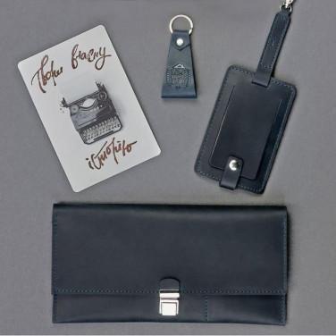 Гаманець чоловічий набір 3 в 1 Travel Case Gray Leather