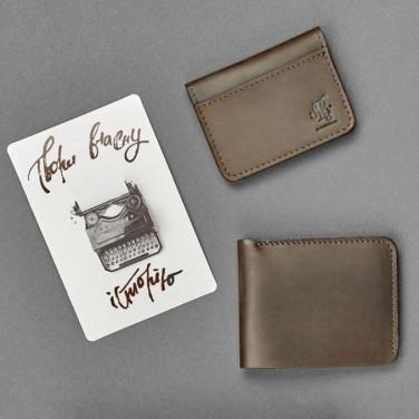 Кошелек мужской в наборе 2 в 1 Wallet Brown Leather