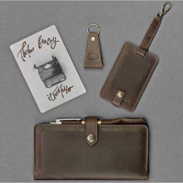 Кошелек мужской кожаный в наборе 3 в 1 Travel Case Brown Leather
