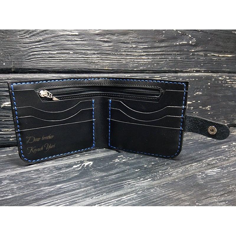 Кожаное портмоне Purse Compact black leather