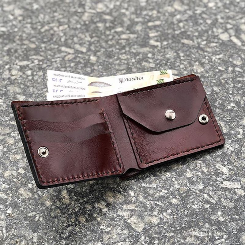Кожаное портмоне Purse Burgundy leather