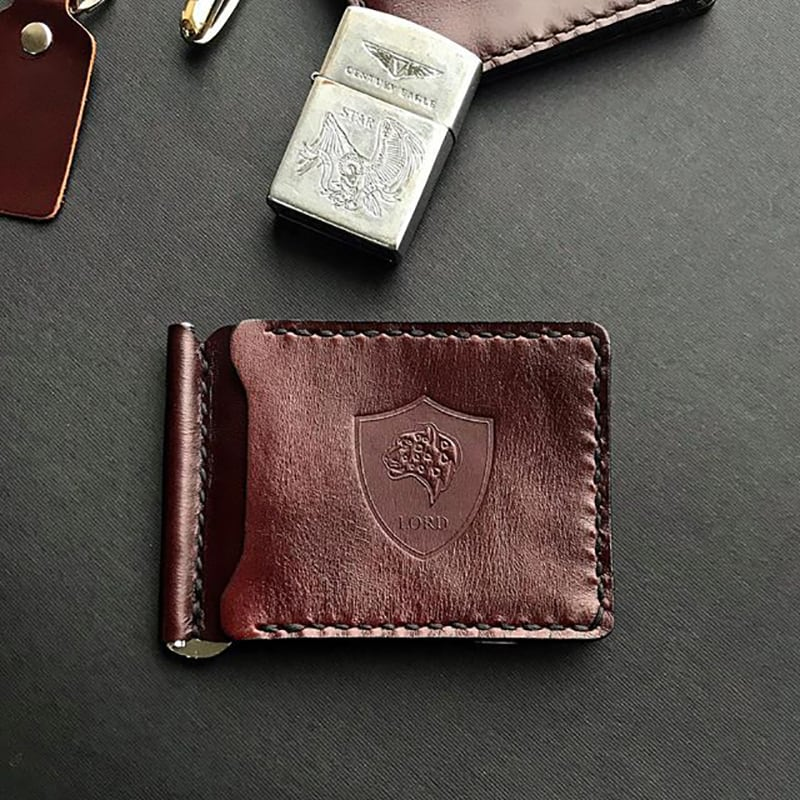 Кожаный зажим для купюр Wallet Burgundy leather