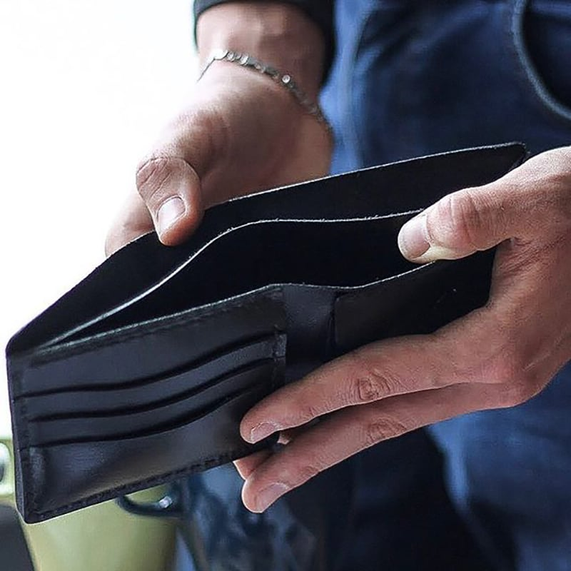 Шкіряне портмоне Black leather Wallet
