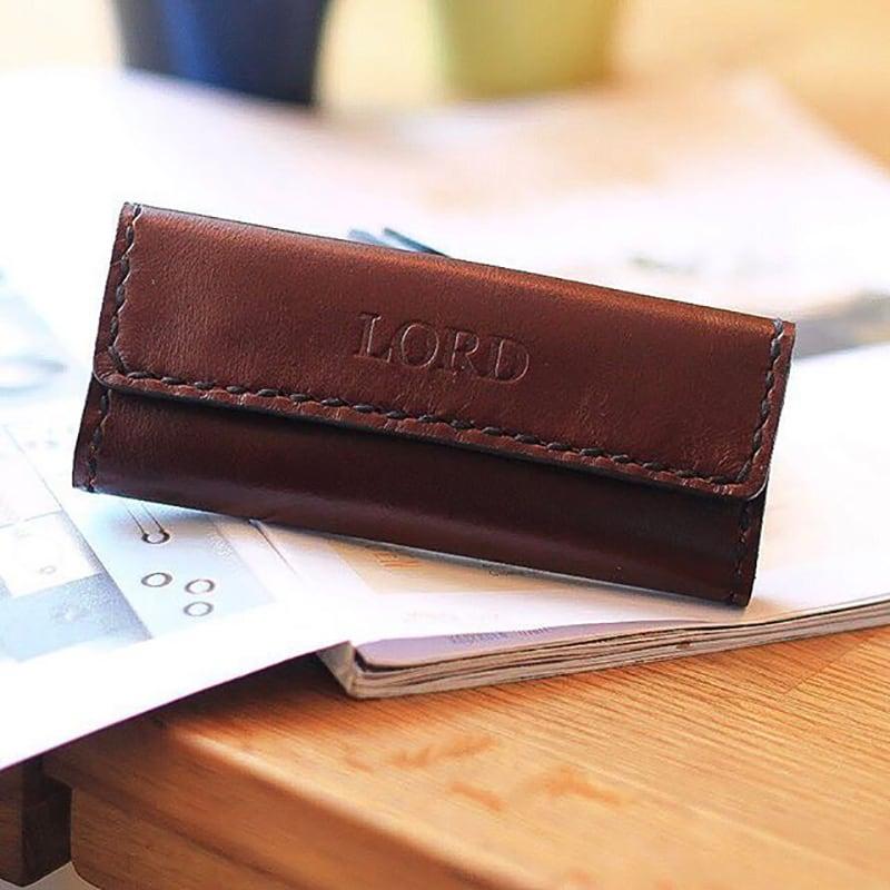 Кожаная ключница Key Wallet Burgundy leather
