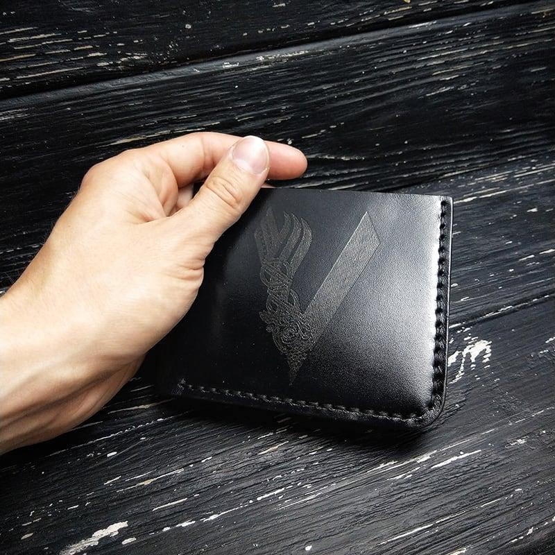 Шкіряне портмоне Purse Engraving Black leather