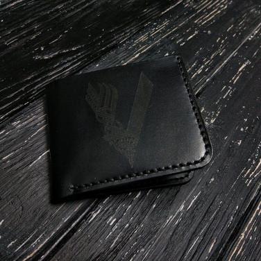 Кожаное портмоне Purse Engraving Black leather