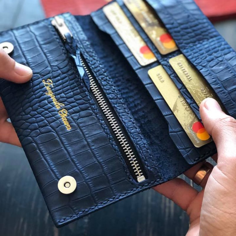 Кожаное портмоне Purse Aligator blue leather