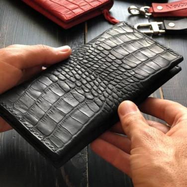 Женский кожаный кошелек Purse Aligator Red/Black leather