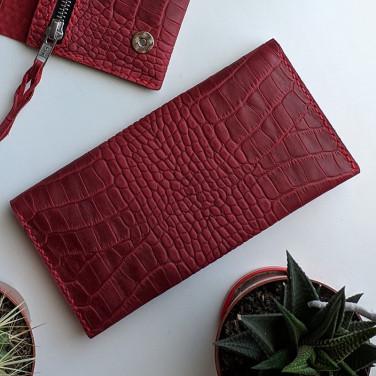 Женский кожаный кошелек Purse Aligator burgundy leather