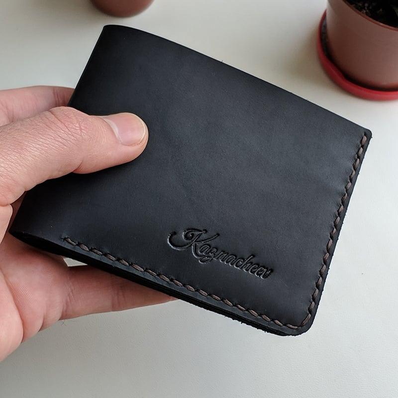 Кожаный мужской кошелек Purse Compact black leather