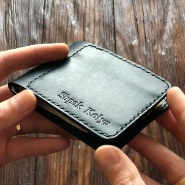Кожаный зажим для купюр Nominal Black Leather