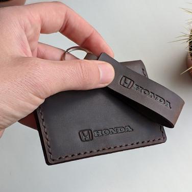 Обложка на водительские права Honda brown leather