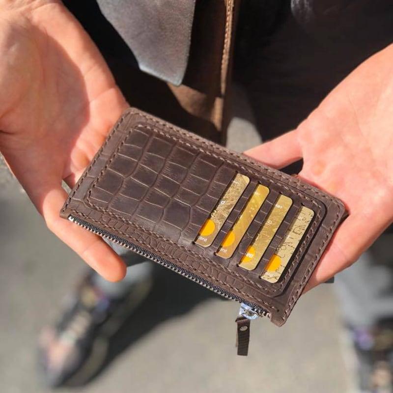 Кожаный картхолдер Aligator brown leather