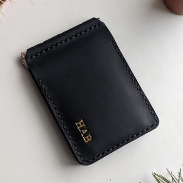 Шкіряний затиск для грошей Safe black leather