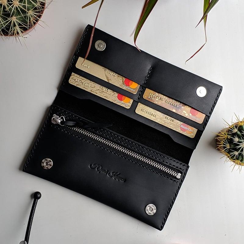 Шкіряне чоловіче портмоне Purse Classic black leather