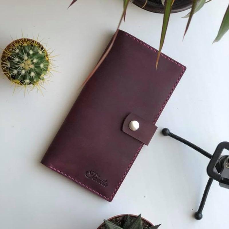 Кожаное портмоне Purse Мultipurpose burgundy leather