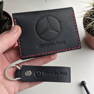 Обложка на водительские права Mercedes-Benz black leather